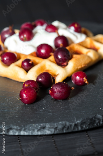"""""""homemade Belgian waffles with berries, whipped cream ..."""