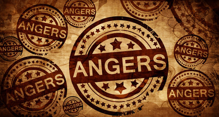 angers, vintage stamp on paper background