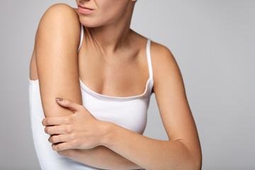 Arms Pain. Beautiful Woman Body Feeling Pain In Shoulders Wall mural