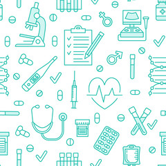 Seamless pattern medical icons, clinic vector illustration. Hospital thin line signs - thermometer, check up, diagnostic, microscope, stethoscope. Cute repeated texture for business presentation.