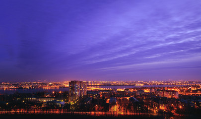 Night cityscape view of Voronezh city from rooftop. District Birchwood