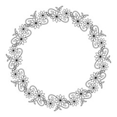 Elegant round frame with contours of flowers.  Vector clip art