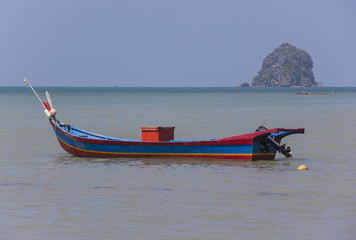 Colorful fishing boat anchored, Langkawi