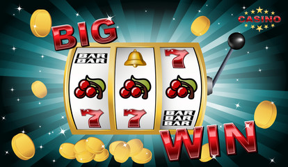 slot machine big win with golden coins