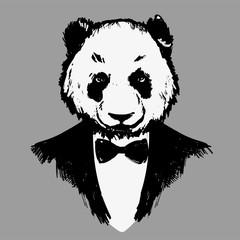 Hipster panda in dinner jacket