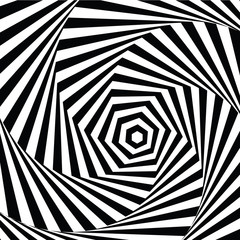 vector illustration motley visual and optical illusion star-shaped black white, twisted spiral