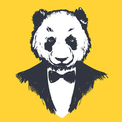 Hipster panda in dinner jacket on yellow background