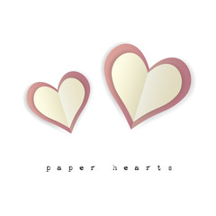 Paper hearts for Valentines day card on white background