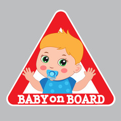 Baby Boy On Board Vector Illustration. Baby On Board Sign. Car Warning Sign. Boy On Board Color Sticker.