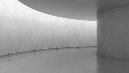 Empty concrete room interior with light from ceiling. 3D rendering.