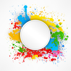 Round stitching paper on colorful splashes background Vector Illustration