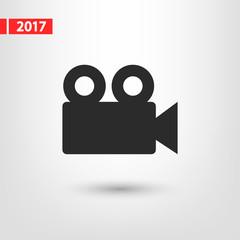 Video camera icon, vector illustration. Flat design style