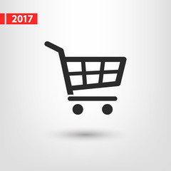 shopping cart icon, vector illustration. Flat design style