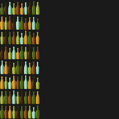 Rows of different bottles on a black background.