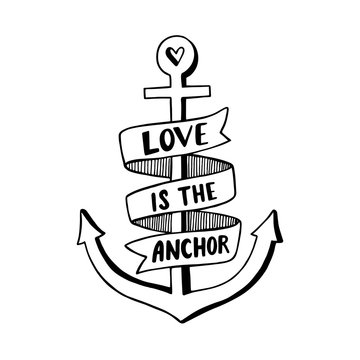 Hand drawn vintage label with an anchor and lettering