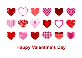 バレンタインデー 色々なハート イラスト カード