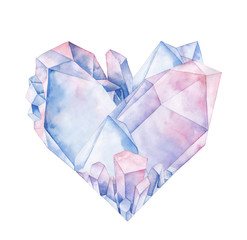 Watercolor crystal heart