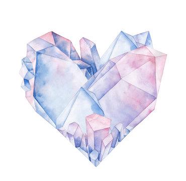 Watercolor crystal heart