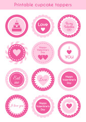 Set of printable cupcake toppers Valentines day