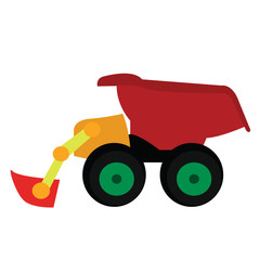 Isolated truck toy on a white background, Vector illustration