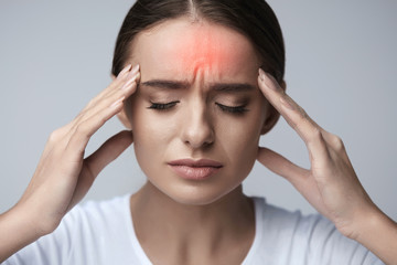 Health. Beautiful Woman Having Strong Headache, Feeling Pain