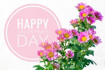 Happy valentine's day word on pink flower background