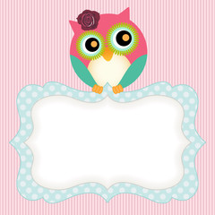 Background with cute owl and label