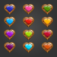 Big set with wooden heart