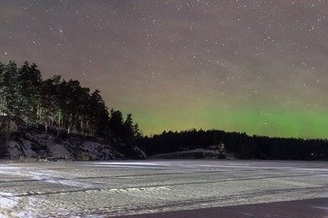 Northern lights on lake Ladoga , Karelia, Russia