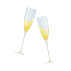 Colorful cartoon illustration of two glasses of champagne on white background. Vector.