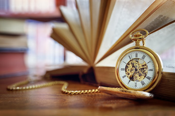Pocket watch in library or study