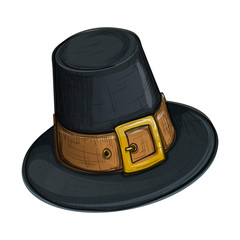 Colorful sketch style cartoon  illustration of pilgrim hat with buckle, Thanksgiving Day symbol. Vector.