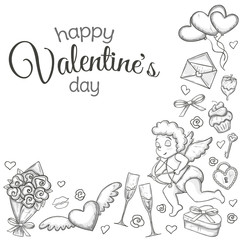 Corner frame with Valentine's Day icons. Monochrome sketch style illustration for Valentine's Day greeting card and decoration. Vector.