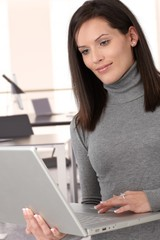 Attractive casual secretary with laptop computer