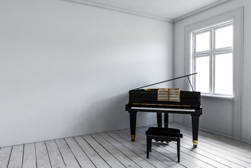 Black piano near window