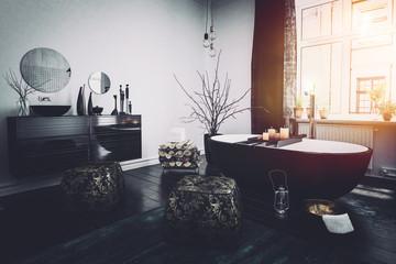 Original Oriental style black bathroom interior