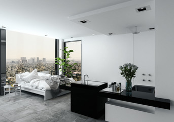 Open plan modern bedroom bathroom in a studio