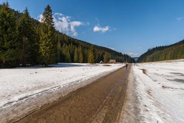 Winter landscape. Gravel road in Koscieliska Valley in Tatra Mountains, Poland.
