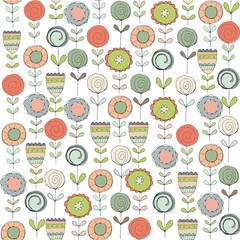 Simple seamless pattern with flowers. Cute flowers on a white background. Free style. Floral background for textiles, Wallpaper, packaging, scrapbooking. Hand-drawn elements.