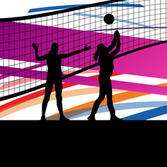 Women volleyball player sport silhouettes in abstract background
