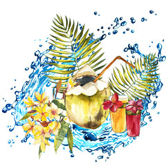 Composition with watercolor hand drawn tropical fruits, flowers, water and leaves. Background for food packaging, cards posters. isolated on white .