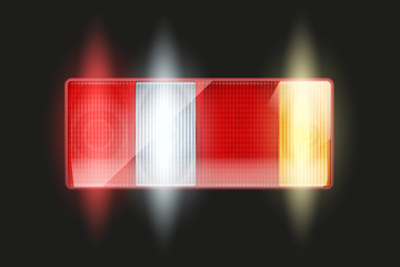 Rectangular car taillight. Rear and brake light. Light is on. Vintage Vector Illustration isolated on white background.