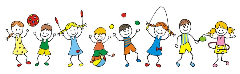 children and game, happy kids, vector illustration