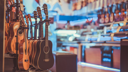 Photo sur Toile Magasin de musique Multi-Colored Classical Guitar in a vintage style.