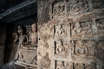 Ellora Caves UNESCO World Heritage Site. Rock-cut religious complex sanctuaries devoted to Buddhism, Hinduism and Jainism. Temples and monasteries near Aurangabad District, Maharashtra State, India.