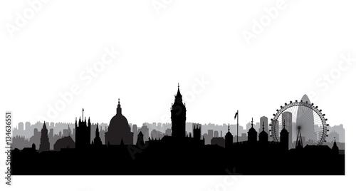 London City Buildings Silhouette British Urban Landscape Cityscape With Landmarks Travel UK