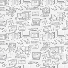 Computer, laptop, monitor seamless vector pattern