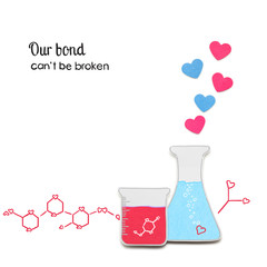 Chemistry between us / Creative valentines concept photo of laboratory flasks with hearts made of paper on white background.