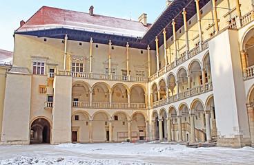Fototapeta Yard of famous Wawel castle in Krakow, Poland obraz