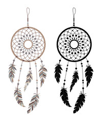 American Indians amulet. Dream catcher with feathers and beads on a white background. Boho style.
